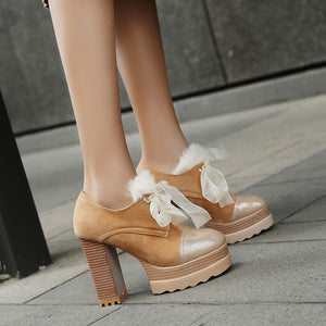 Ribbons Super High Heel Round Head Platform Pumps