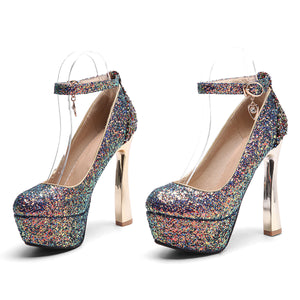 Sequined Bride Super High Heel Platform Pumps