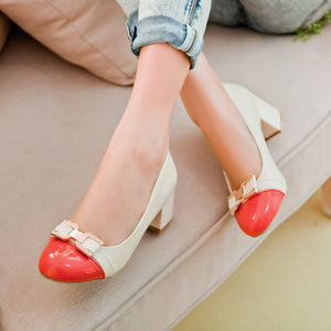 Butterfly Knot Medium-heeled Round Shallow-mouthed Women Chunky Heels Pumps