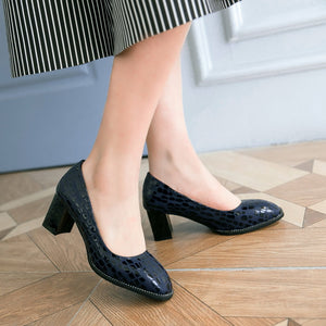Shallow Heads High Heels Chunky Pumps