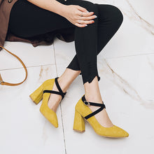 Load image into Gallery viewer, Pointed Toe High Heel Chunky Pumps