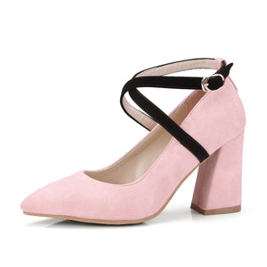 Pointed Toe High Heel Chunky Pumps