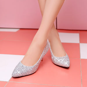 Sequin Pointed Shallow Mouth High-heeled Wedding Shoes