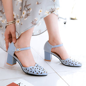 Women's Buckle Belt Chunky Heel Sandals