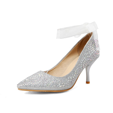 Women's Elegant Ankle Strap Pointed Bride Shoes High Heel Pumps