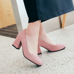 Coarse-heeled High Heels Frosted Shallow-mouth Square Head Wedding Shoes