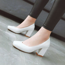 Load image into Gallery viewer, Thick Heeled High Heel Shallow Mouth Women Pumps