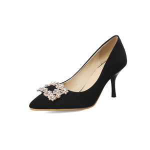 Suede Wedding Shoe Pointed Square Button Stiletto Heels Rhinestone