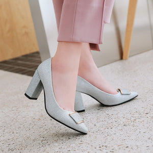 Pointed Toe High Heel Sparkling Wedding Shoes Block Heel Pumps
