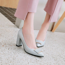 Load image into Gallery viewer, Pointed Toe High Heel Sparkling Wedding Shoes Block Heel Pumps