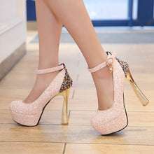 Load image into Gallery viewer, Sequined Bride Super High Heel Platform Pumps