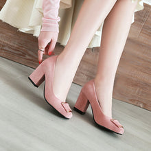 Load image into Gallery viewer, Square Toe Chunky Heel Pumps