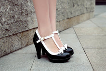 Load image into Gallery viewer, Women's Chunky Heel Pumps Round Head Shallow Mouth T-buckle High Heels