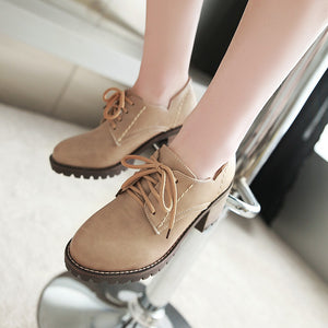 Lace Up Square Heel Oxford Shoes 3322