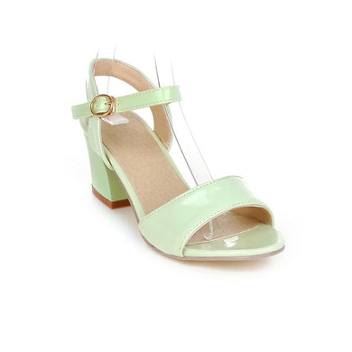 Women's High Heel Hollow Buckle Belt Chunky Heel Sandals