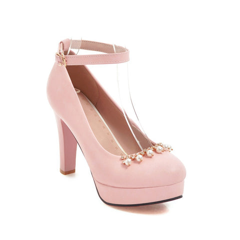 Ankle Strap Pearls Rhinestone Platform Pumps High Heels for Women 2948
