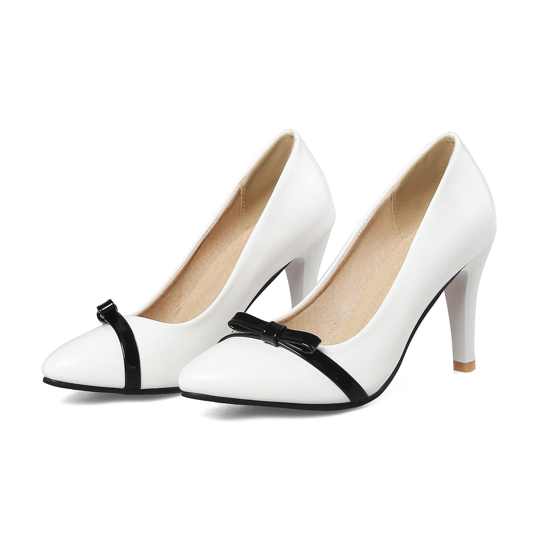 Pointed Toe Shallow High Heel Elegant Bow Wedding Shoes