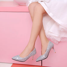 Load image into Gallery viewer, Sequin Pointed Shallow Mouth High-heeled Wedding Shoes