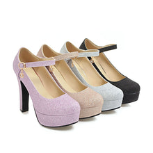 Load image into Gallery viewer, Shallow Toe Sparkling Wedding Shoes High Heels Platform Pumps