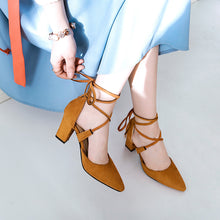 Load image into Gallery viewer, Women's Pointed Toe Hollow Chunky Heel Sandals