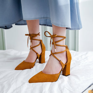 Women's Pointed Toe Hollow Chunky Heel Sandals