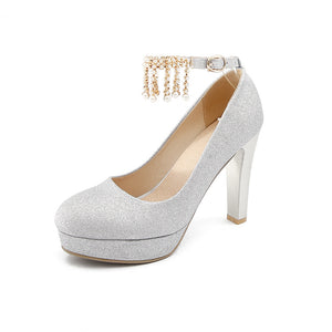 Super High Heel Sequins Bride Shoes