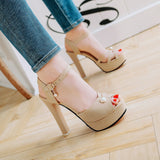 Ankle Strap Chunky Heels Platform Sandals for Women 5007