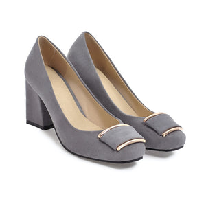 Square Toe Chunky Heel Pumps