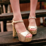 Ankle Strap Sequin Chunky Sparkly Heels Sandals for Women 5198