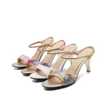 Load image into Gallery viewer, Women's Open Toe Hollow Round Head Stiletto Heel Sandals