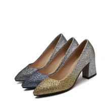 Load image into Gallery viewer, High Heel Sequins Block Heel Pumps