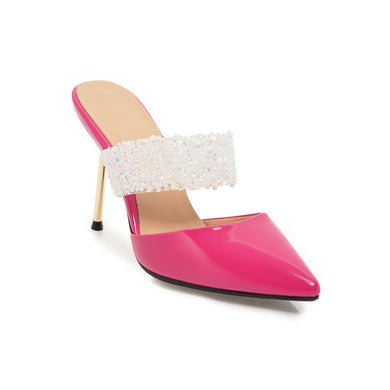 Women's Pointed Toe High Heel Bridal Real Leather Sequin Stiletto Heel Sandals