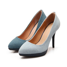 Load image into Gallery viewer, Sexy Super High-heeled Shallow Denim Platform Pumps