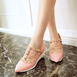 Pointed Toe Rivet Leisure Women Wedges Middle Heels