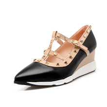 Load image into Gallery viewer, Pointed Toe Rivet Leisure Women Wedges Middle Heels