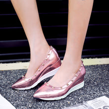 Load image into Gallery viewer, Leisure Medium-heel Wedges Shallow-mouthed Rivets Casual Women Shoes