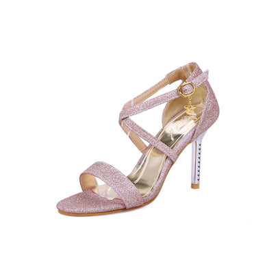 Women's High Heel Open Toe Sequins Bridal Stiletto Heel Sandals
