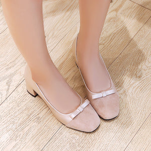 Square Medium Heel Shallow Mouth Wedding Shoes Women  Pumps