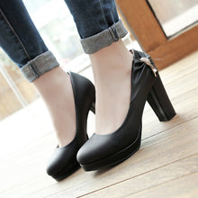 Load image into Gallery viewer, Shallow Toe Bow Platform High Heel Pumps