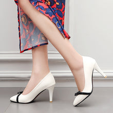 Load image into Gallery viewer, Pointed Toe Shallow High Heel Elegant Bow Wedding Shoes