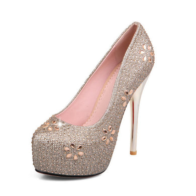 Wedding Platform Stilettos High Heels Crystal Shoes 2725