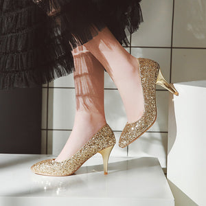 Sexy High Heel Shallow Sequin Stiletto Heel Wedding Shoes