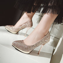 Load image into Gallery viewer, Sequins Pointed Toe Pumps Sexy Thin Heel Super High Heel Shallow Mouth Bride Shoes
