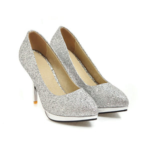 Sequins Pointed Toe Pumps Sexy Thin Heel Super High Heel Shallow Mouth Bride Shoes
