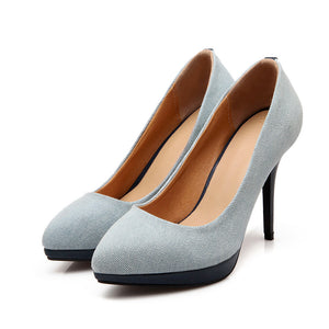 Sexy Super High-heeled Shallow Denim Platform Pumps