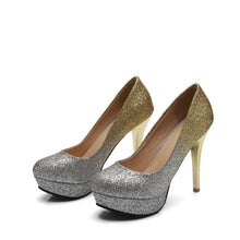 Load image into Gallery viewer, Sexy Super High Heel Nightclub Sequin Platform Pumps Wedding Shoes