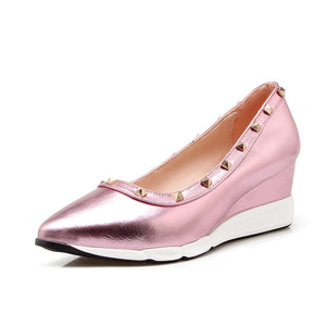 Leisure Medium-heel Wedges Shallow-mouthed Rivets Casual Women Shoes