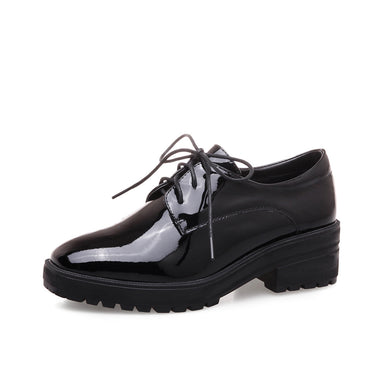 Square Heel Oxford Shoes Platform Leather Students Leisure Women Chunky Heels