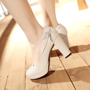 Shallow Toe Bow Platform High Heel Pumps