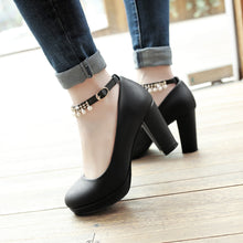 Load image into Gallery viewer, Ankle Strap High Heels Platform Shallow-mouth Pumps